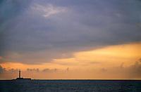 Sunrise over the lighthouse on Planier island off the coast of Marseille, France.