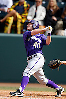 Joe Meggs #40 of the Washington Huskies bats against the UCLA Bruins at Jackie Robinson Stadium on March 17, 2013 in Los Angeles, California. (Larry Goren/Four Seam Images)