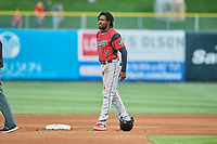 Alen Hanson (5) of the Sacramento River Cats during the game against the Salt Lake Bees at Smith's Ballpark on April 19, 2018 in Salt Lake City, Utah. Salt Lake defeated Sacramento 10-7. (Stephen Smith/Four Seam Images)