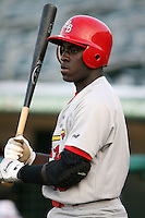 April 13, 2009:  Third baseman Jermaine Curtis (18) of the Palm Beach Cardinals, Florida State League Class-A affiliate of the St. Louis Cardinals, during a game at Hammond Stadium in Fort Myers, FL.  Photo by:  Mike Janes/Four Seam Images