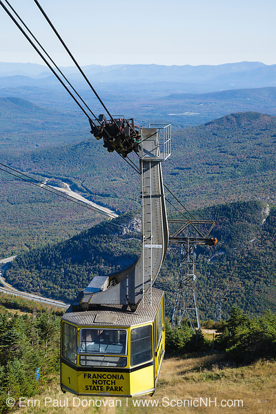 Aerial Tramway at the summit of Cannon Mountain in Franconia Notch State Park of the New Hampshire White Mountains. Cannon Mountain was the site of the first passenger aerial tramway in North America.