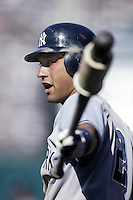 Derek Jeter of the New York Yankees waits to bat during a 2002 MLB season game against the Los Angeles Angels at Angel Stadium, in Anaheim, California. (Larry Goren/Four Seam Images)
