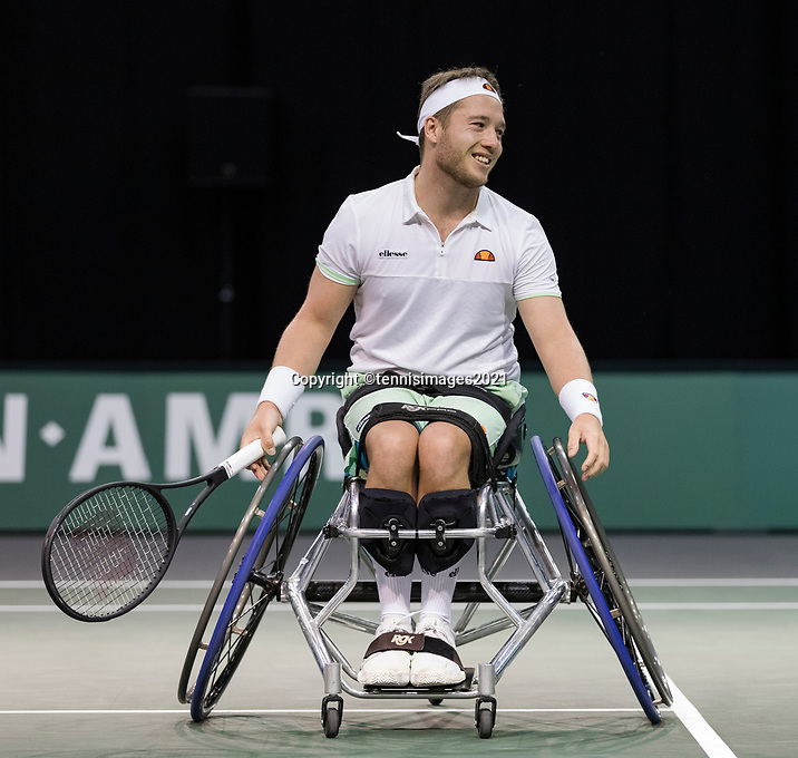 Rotterdam, The Netherlands, 6 march  2021, ABNAMRO World Tennis Tournament, Ahoy,  Semi final wheelchair:  Alfie Hewett (GBR).<br /> Photo: www.tennisimages.com/