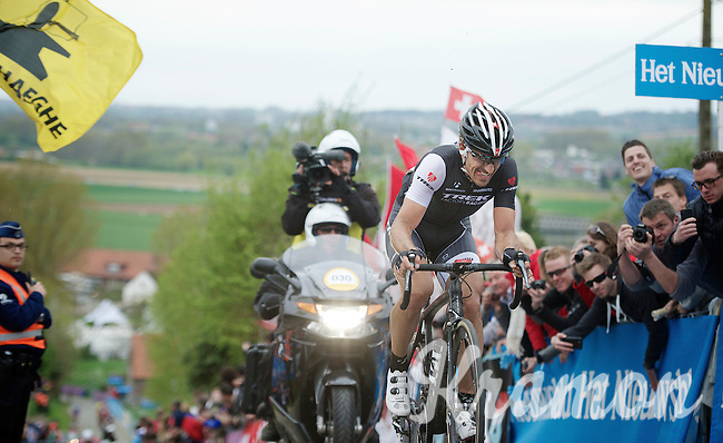 Fabian Cancellara (CHE/TrekFactoryRacing) up the final ascent of the Paterberg trying hard (and succeeding) to stay in Sep Vanmarcke's  (BEL/Belkin) wheel just ahead of him<br /> <br /> Ronde van Vlaanderen 2014