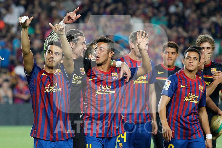 FC Barcelona's Pedro Rodriguez, Jose Manuel Pinto, Thiago Alcantara and Alexis Sanchez celebrates the victory during Spanish Supercup 2nd match.August 17,2011. (ALTERPHOTOS/Acero)