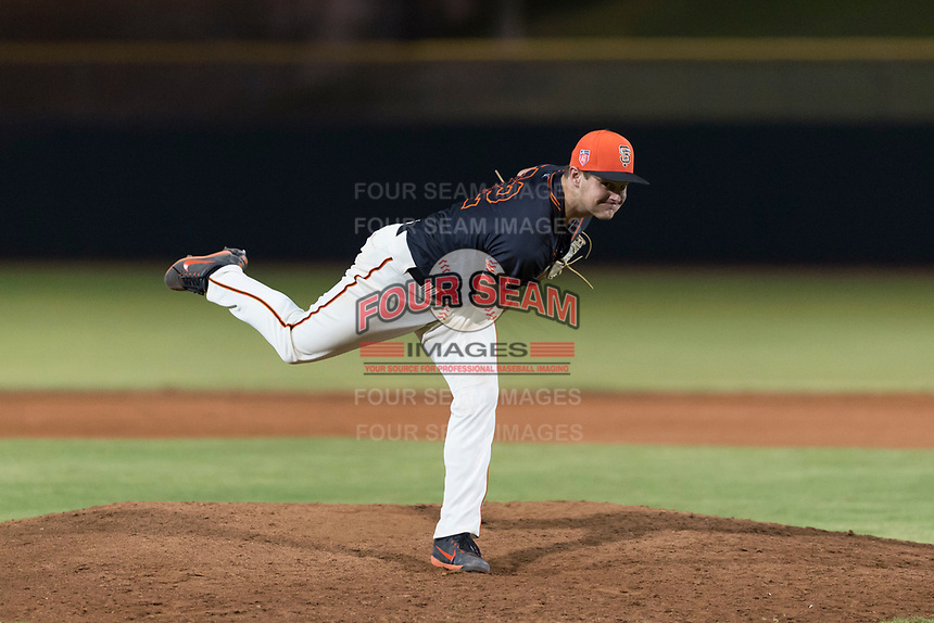 AZL Giants Black relief pitcher Cooper Casad (62) follows through on his delivery during an Arizona League game against the AZL Rangers at Scottsdale Stadium on August 4, 2018 in Scottsdale, Arizona. The AZL Giants Black defeated the AZL Rangers by a score of 6-3 in the second game of a doubleheader. (Zachary Lucy/Four Seam Images)