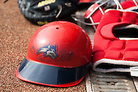 Stony Brook Seawolves helmet at the NCAA Super Regional baseball game on June 9, 2012 at Alex Box Stadium in Baton Rouge, Louisiana. LSU defeated Stony Brook 5-4 in 12 innings. (Andrew Woolley/Four Seam Images)