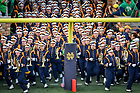 September 1, 2018; The Notre Dame Marching Band runs out of the tunnel before the game against Michigan. (Photo by Matt Cashore)