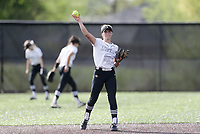 Bentonville shortstop Kenzie Derryberry (22) throws, Thursday, April 29, 2021 during a softball game at Bentonville High School in Bentonville. Check out nwaonline.com/210430Daily/ for today's photo gallery. <br /> (NWA Democrat-Gazette/Charlie Kaijo)