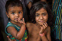Bangladesh, Cox's Bazar. Kutupalong Rohingya Refugee Camp. The Rohingya, a Muslim ethnic group  denied citizenship in Burma/Myanmar have escaped persecution from Burmese militants in their country. There are up to 500,000 migrants and refugees living in makeshift camps in Cox's Bazar. Children in the camp.
