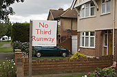 Sign outside a house near Heathrow, West London, objecting to plans for a third runway at the airport, already the world's busiest.