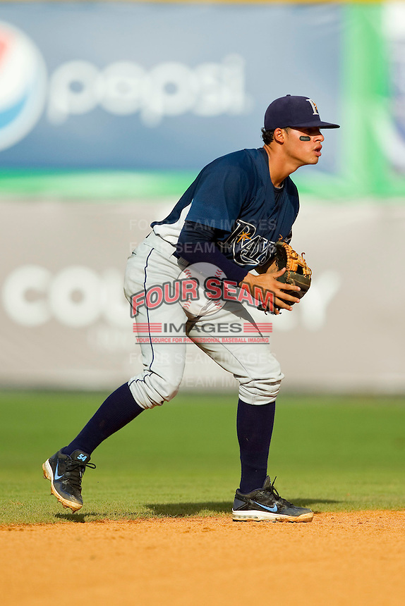 Princeton Rays shortstop Douglas Duran (7) on defense against the Burlington Royals at Burlington Athletic Park on July 5, 2013 in Burlington, North Carolina.  The Royals defeated the Rays 5-1 in game one of a doubleheader.  (Brian Westerholt/Four Seam Images)
