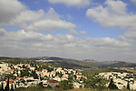 Israel, Jerusalem mountains, a view of Mevaseret Zion from Castel National Park, site of the Crusader Castellum Belveern fortress
