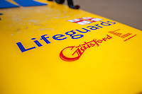 Friday  13  June  2014<br /> <br /> Pictured: Lifeguard Kayak used for lifesaving on Llangrannog Beach<br /> Re: Views of Llangrannog, Ceredigion, Wales UK