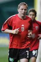 9 April 2005.  DC United midfielder Steve Guppy (7) warms up at RFK Stadium in Washington, DC.