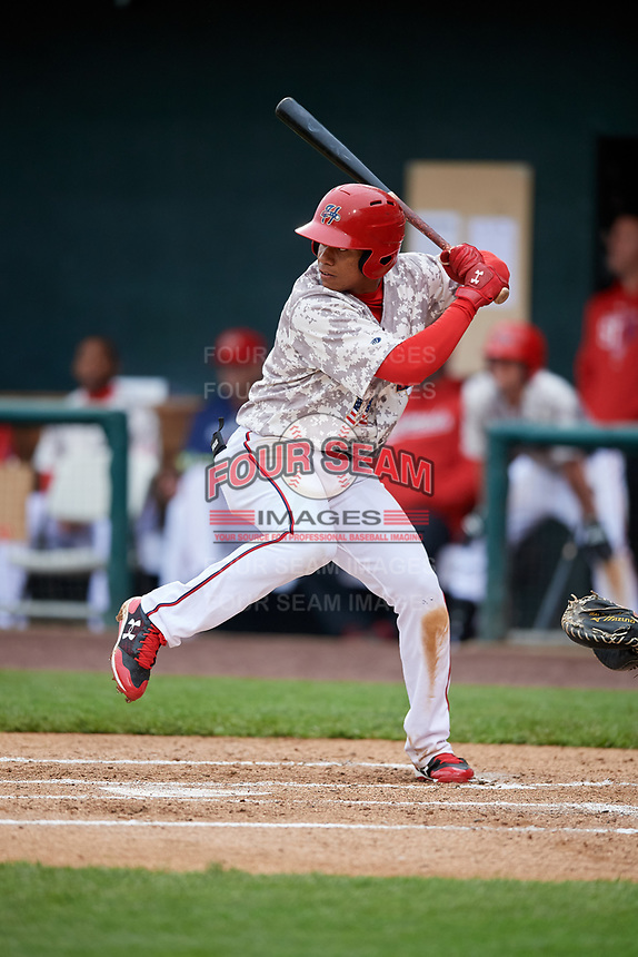 Harrisburg Senators left fielder Juan Soto (10) at bat during the second game of a doubleheader against the New Hampshire Fisher Cats on May 13, 2018 at FNB Field in Harrisburg, Pennsylvania.  Harrisburg defeated New Hampshire 2-1.  (Mike Janes/Four Seam Images)