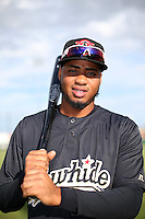 Dawel Lugo (10) of the Visalia Rawhide poses for a photo before a game against the Lancaster JetHawks at The Hanger on May 7, 2016 in Lancaster, California. Lancaster defeated Visalia, 19-5. (Larry Goren/Four Seam Images)