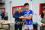 St Marys Captain Jack Daly receives the Man of the Match award from Padraig Fogarty(Fogarty's Centra Waterville).