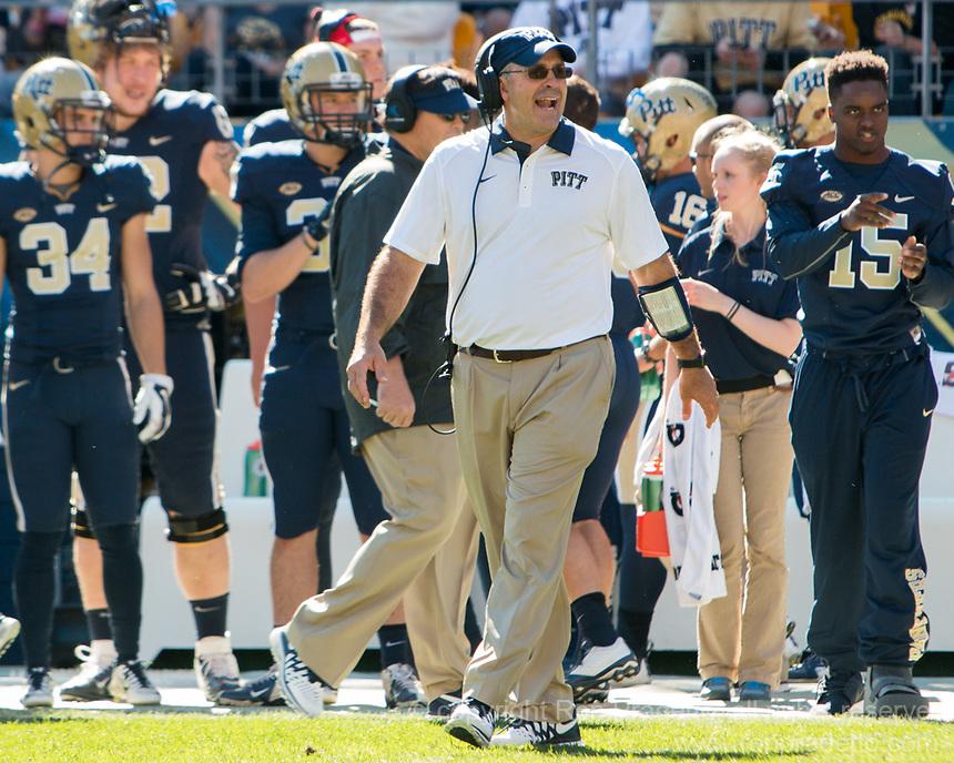 Pitt head football coach Pat Narduzzi. The Pitt Panthers football team defeated the Virginia Cavaliers 26-19 on Saturday October 10, 2015 at Heinz Field, Pittsburgh, Pennsylvania.