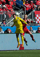 31 March 2011:Columbus Crew midfielder Bernardo Anor #7 and Toronto FC defender Richard Eckersley #27 in action during a game between the Columbus Crew and the Toronto FC at BMO Field in Toronto, Ontario Canada..The Columbus Crew won 1-0.