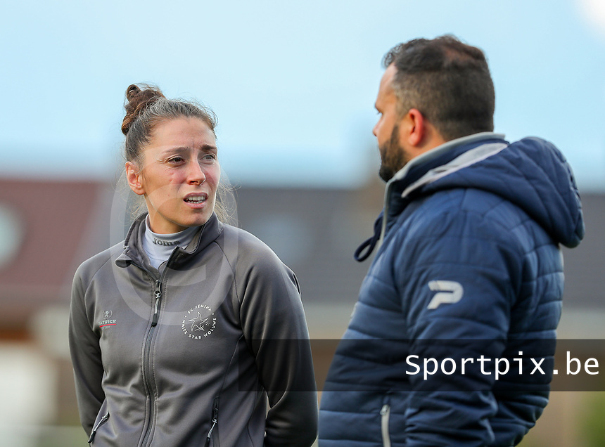 Head coach Audrey Demoustier of Woluwe and coach Tiziano Rutilo pictured before a female soccer game between Sporting Charleroi and White Star Woluwe on the 7 th matchday in play off 2 of the 2020 - 2021 season of Belgian Scooore Womens Super League , friday 14 th of May 2021  in Marcinelle , Belgium . PHOTO SPORTPIX.BE | SPP | Sevil Oktem