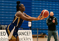 Janice Monakana of Sevenoaks Suns passes during the WBBL Championship match between Sevenoaks Suns and Newcastle Eagles at Surrey Sports Park, Guildford, England on 20 March 2021. Photo by Liam McAvoy