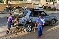 SENEGAL, Thies, downtown, traffic in rush hour, used cars from Europe / Stadtzentrum, Strassenverkehr, gebrauchte Autos aus Europa importiert