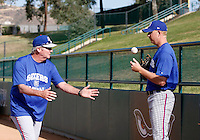 Greg Miller -  2009 Inland Empire 66ers works in the bullpen before a California League game with pitching coach Charlie Hough (left).Photo by:  Bill Mitchell/Four Seam Images