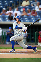 Dunedin Blue Jays catcher Danny Jansen (31) at bat during a game against the Clearwater Threshers on August 15, 2016 at Bright House Field in Clearwater, Florida.  Dunedin defeated Clearwater 4-1.  (Mike Janes/Four Seam Images)