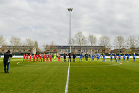 line-up teams pictured before a female soccer game between  AA Gent Ladies and Standard Femina de Liege on the first matchday of play-off 1 of the  2020 - 2021 season of Belgian Scooore Womens Super League , saturday 3 th of April 2021  in Oostakker , Belgium . PHOTO SPORTPIX.BE | SPP | STIJN AUDOOREN