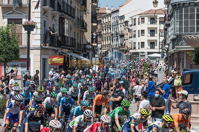 The start of Stage 11 of La Vuelta d'Espana 2021, running 133.6km from Antequera to Valdepeñas de Jaén, Spain. 25th August 2021.     <br /> Picture: Unipublic/Charly Lopez | Cyclefile<br /> <br /> All photos usage must carry mandatory copyright credit (© Cyclefile | Charly Lopez/Unipublic)