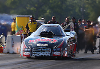 Aug. 17, 2013; Brainerd, MN, USA: NHRA funny car driver Matt Hagan during qualifying for the Lucas Oil Nationals at Brainerd International Raceway. Mandatory Credit: Mark J. Rebilas-