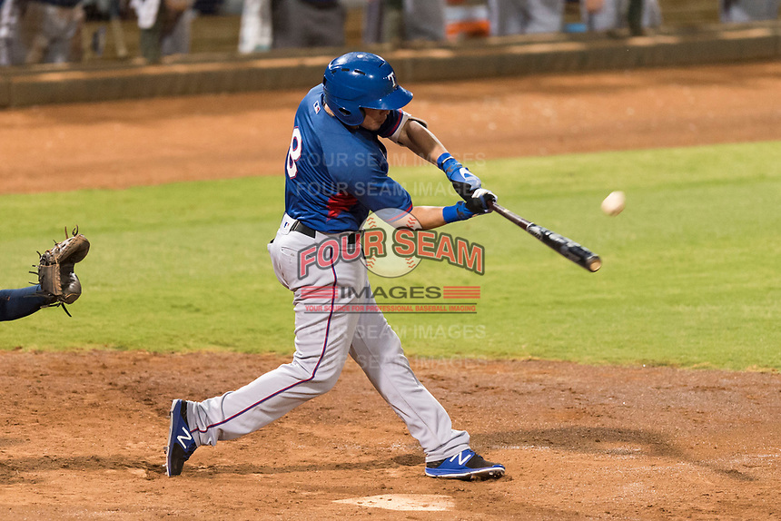 AZL Rangers right fielder Beder Gutierrez (8) hits a two-run home run in the top of the 12th inning of an Arizona League playoff game against the AZL Indians 1 at Goodyear Ballpark on August 28, 2018 in Goodyear, Arizona. The AZL Rangers defeated the AZL Indians 1 7-4. (Zachary Lucy/Four Seam Images)