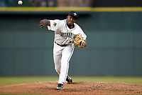 Pitcher Anderson Paulino (39) of the Columbia Fireflies in a game against the Charleston RiverDogs on Tuesday, May 11, 2021, at Segra Park in Columbia, South Carolina. (Tom Priddy/Four Seam Images)