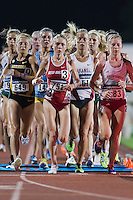 Kaitlyn Fischer of Missouri, Alice Wright of New Mexico, Dominoque Scott of Arkansas and Amber Eichkorn of South Dakota lead the 10000 meter semifinal during West Preliminary Track and Field Championships, Friday, May 29, 2015 in Austin, Tex. (Mo Khursheed/TFV Media via AP Images)