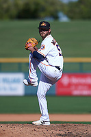 Mesa Solar Sox relief pitcher Brendan McCurry (53), of the Houston Astros organization, delivers a pitch to the plate during an Arizona Fall League game against the Peoria Javelinas on October 25, 2017 at Sloan Park in Mesa, Arizona. The Solar Sox defeated the Javelinas 6-3. (Zachary Lucy/Four Seam Images)
