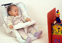 7 month old baby girl in infant seat indifferent after view of Jack in the box is blocked