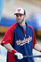 Bryce Harper #34 of the Washington Nationals before a game against the Los Angeles Dodgers at Dodger Stadium on May 13, 2013 in Los Angeles, California. (Larry Goren/Four Seam Images)
