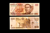 Mexico, North America.  Five Hundred Pesos Banknote, showing Ignacio Zaragoza, Mexican general who defeated the French in the Battle of Puebla, Cinco de Mayo, 1862.  Church of Puebla shown on the back.