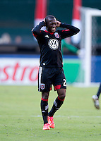 Sainey Nyassi (27) of D.C. United grimaces after a Major League Soccer game at RFK Stadium in Washington, DC. D.C. United vs. Houston Dynamo, 2-1.