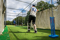 BNPS.co.uk (01202 558833)<br /> Pic: MaxWillcock/BNPS<br /> <br /> Pictured: Rob Franks in the nets with his new prosthetic blade at Parley Cricket Club in West Parley, Dorset.<br /> <br /> Disabled cricketer Rob Franks is back in the runs after raising £12,000 to buy a prosthetic blade.<br /> <br /> Rob, 42, can now sprint between the wickets when batting, run into bowl and chase after the ball in the field. <br /> <br /> Rob Franks, from Poole, Dorset, had his left leg amputated above the knee three years ago after suffering an injury while playing a match.