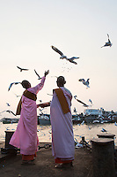 Nuns feeding seagulls in Yangon harbor