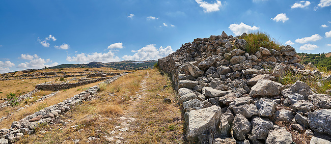 walls of Royal castle palace, Hattusa (also Ḫattuša or Hattusas) late Anatolian Bronze Age capital of the Hittite Empire. Hittite archaeological site and ruins, Boğazkale, Turkey.