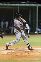AZL Indians 2 designated hitter Yainer Diaz (4) swings at a pitch during an Arizona League game against the AZL Cubs 2 at Sloan Park on August 2, 2018 in Mesa, Arizona. The AZL Indians 2 defeated the AZL Cubs 2 by a score of 9-8. (Zachary Lucy/Four Seam Images)