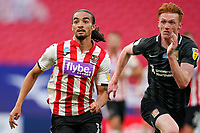Randell Williams of Exeter City and Callum Morton (on loan from WBA) of Northampton Town during the Sky Bet League 2 PLAY-OFF Final match between Exeter City and Northampton Town at Wembley Stadium, London, England on 29 June 2020. Photo by Andy Rowland.