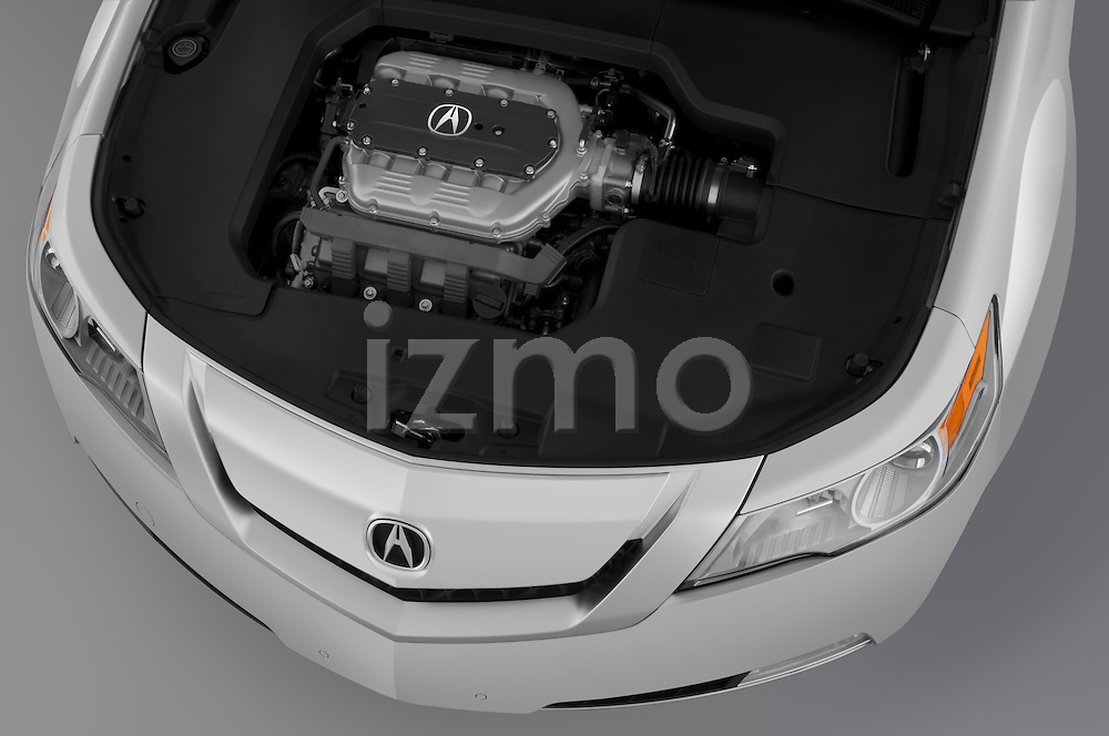 High angle engine detail of a 2009 - 2014 Acura TL SH AWD Sedan.