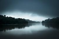Landscape with a rainforest on the bank of the San Juan River, El Castillo, Rio San Juan Department, Nicaragua