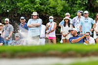 30th May 2021; Fort Worth, Texas, USA;  Sebastian Munoz hits from the green side bunker on #8 during the final round of the Charles Schwab Challenge on May 30, 2021 at Colonial Country Club in Fort Worth, TX.