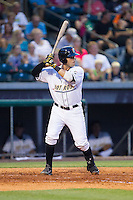 Oscar Hernandez (28) of the Bowling Green Hot Rods at bat against the Quad Cities River Bandits at Bowling Green Ballpark on July 26, 2014 in Bowling Green, Kentucky.  The River Bandits defeated the Hot Rods 9-2.  (Brian Westerholt/Four Seam Images)