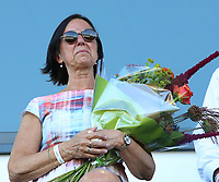 Wife of Eddy Timmermans, Marijke Das pictured during the minute silence before female soccer game between Oud Heverlee Leuven and Standard Femina de Liege on the third matchday of the 2021 - 2022 season of Belgian Womens Super League , Sunday 5 th of September 2021  in Leuven , Belgium . PHOTO SPORTPIX.BE   SEVIL OKTEM